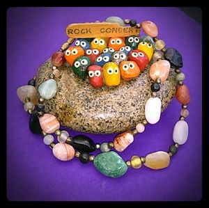VTG '70s Genuine Multi Semi-Precious GemStone Nklc